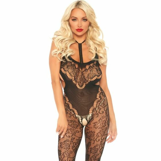 LEG AVENUE LACE BODYSTOCKING WITH CUT OUT T