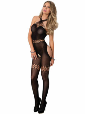 LEG AVENUE TWISTED STRAP BODYSTOCKING  NEGRO