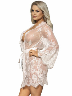 SUBBLIME FLARED SLEEVES LACE PEIGNOIR WHITE S/M
