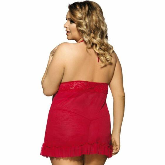 SUBBLIME QUEEN PLUS RED BABYDOLL FLORAL MOTIVS IN BREASTS