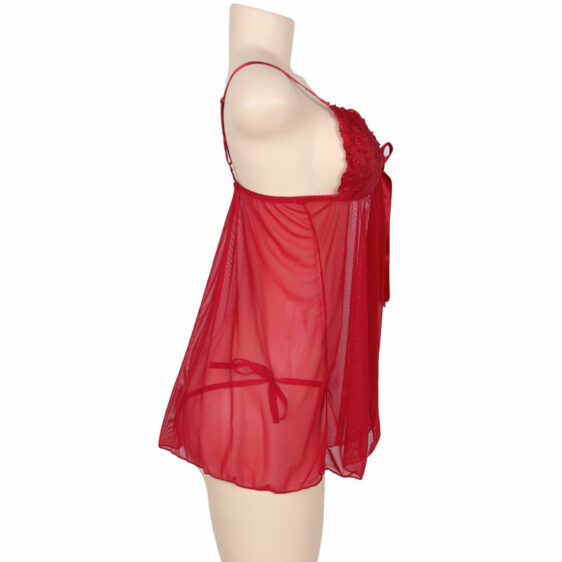 SUBBLIME QUEEN PLUS BABYDOLL WITH BOW AND FLORAL LACES RED