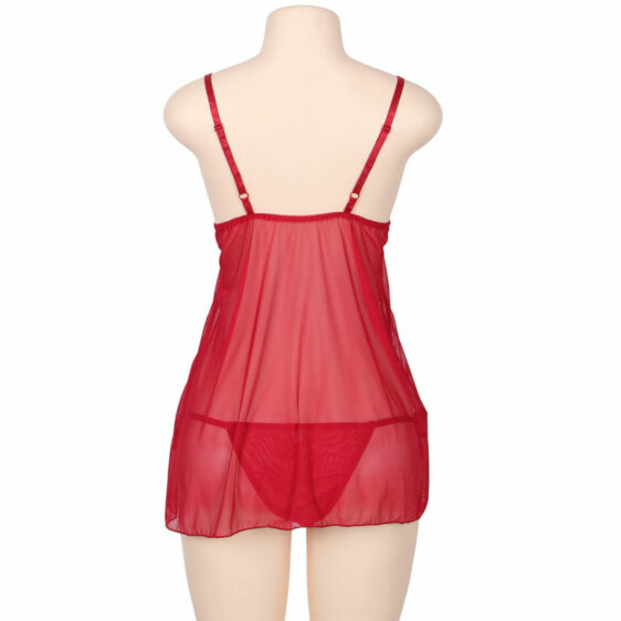 SUBBLIME QUEEN PLUS BABYDOLL WITH BOW AND FLORAL LACES ROJO SUBBLIME QUEEN PLUS SIZE