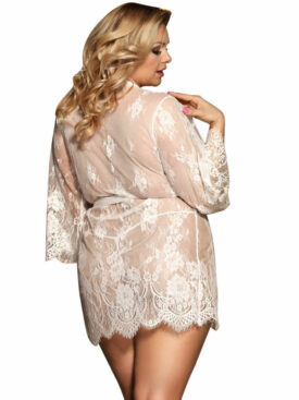 SUBBLIME QUEEN PLUS FLARED SLEEVES LACE PEIGNOIR WHITE