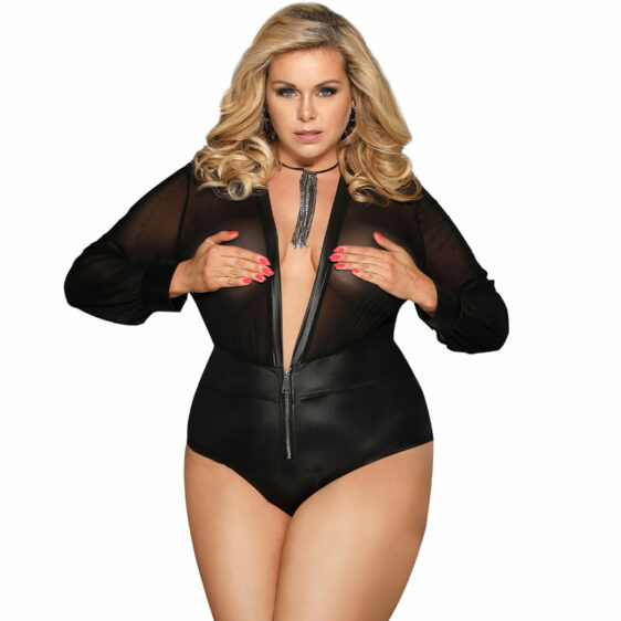 SUBBLIME QUEEN PLUS ZIP AND LONG SLEEVE TEDDY S/M
