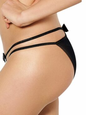 QUEEN LINGERIE DOUBLE STRAP AND BOW PANTIES S/M