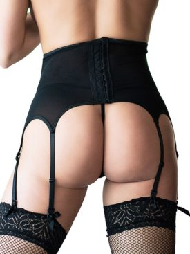 QUEEN LINGERIE THONG AND MESH AND LACE GARTER BELT S/M