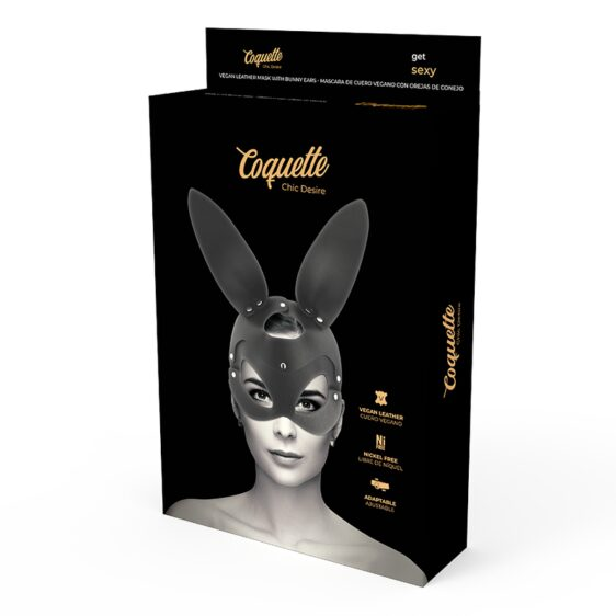 COQUETTE VEGAN LEATHER MASK WITH BUNNY EARS