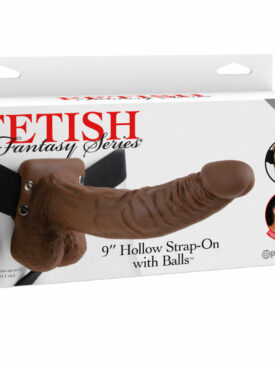 """FETISH FANTASY SERIES 9"""" HOLLOW STRAP-ON WITH BALLS 22.9CM BROWN"""